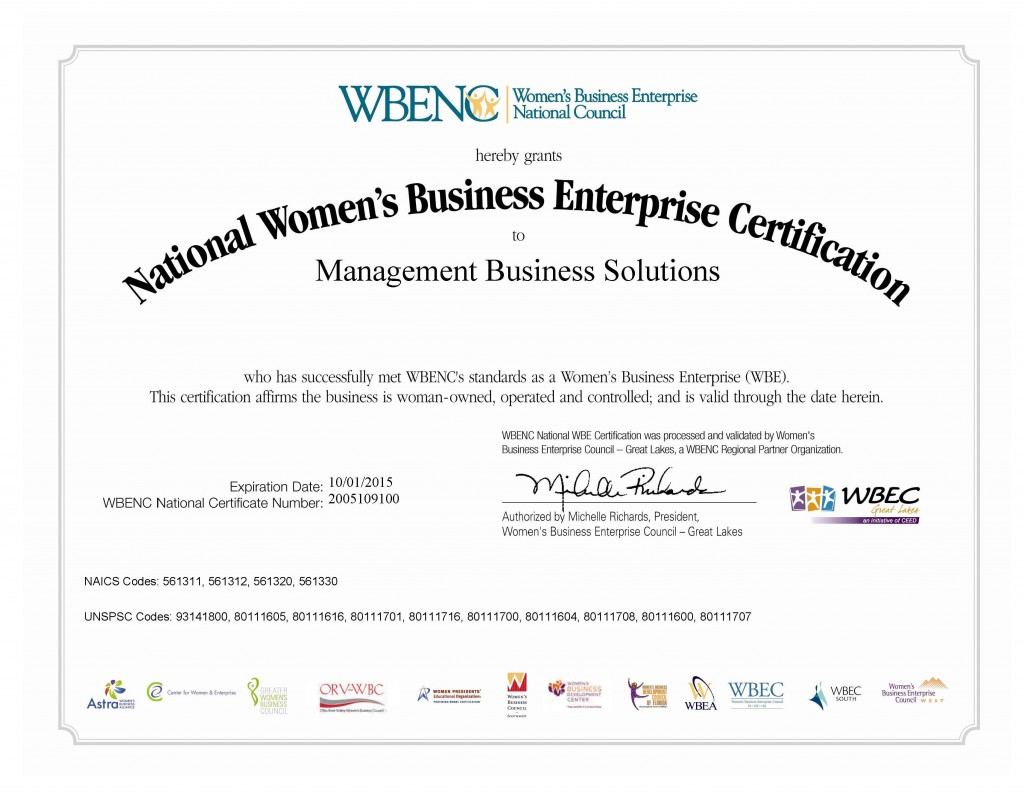 WBE Certificate 2015