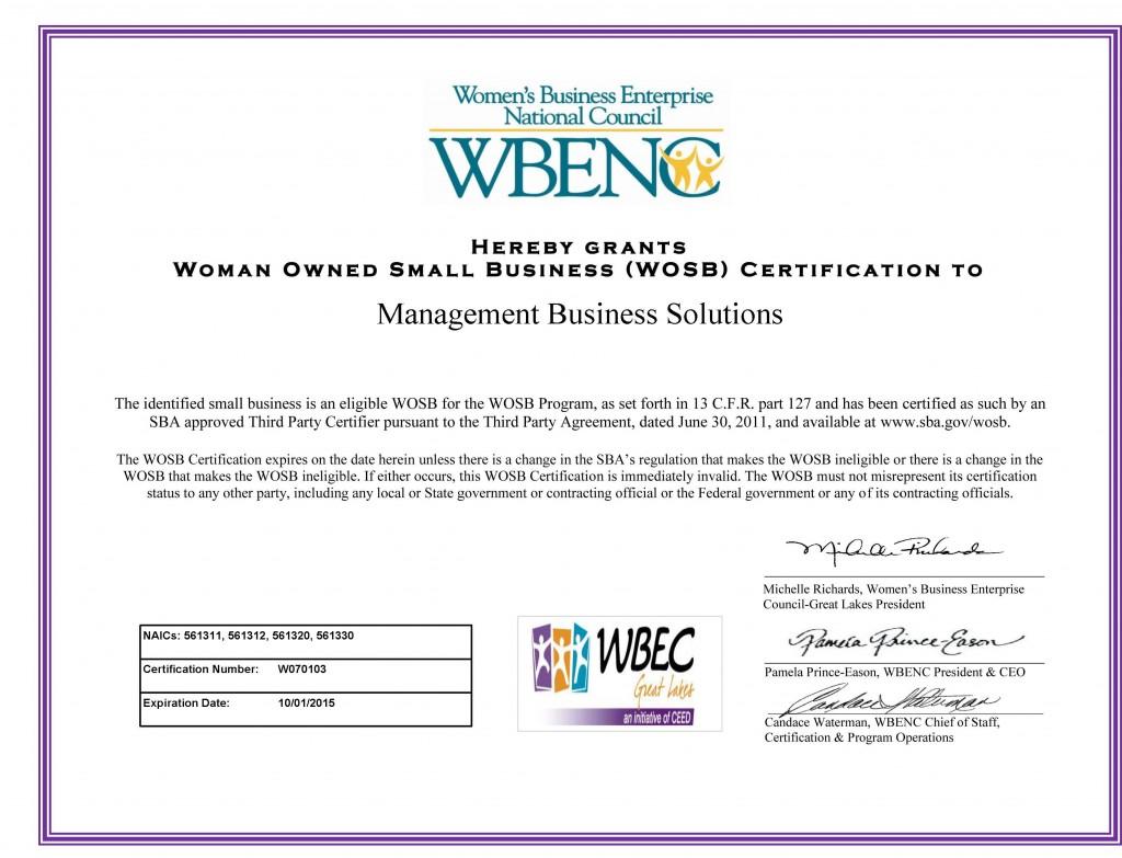 WOSB Certificate 2015